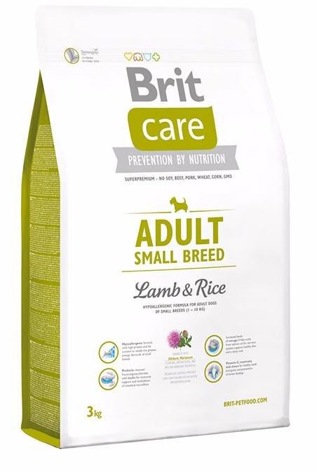 Brit Care Adult Small Breed корм для собак мелких пород (1-10 кг), с ягненком и рисом, 3 кг