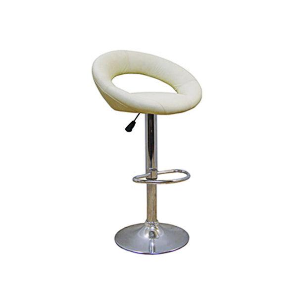 стул барный 480х560х800(1010)мм кремовый кожа pu/металл