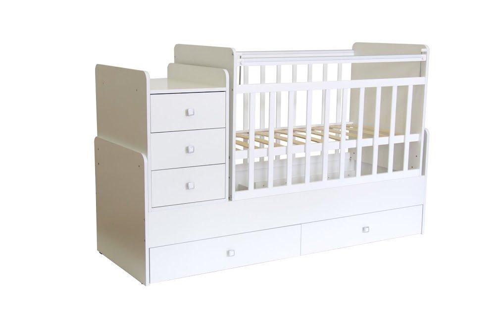 Кроватка-трансформер детская Фея 1100 белый