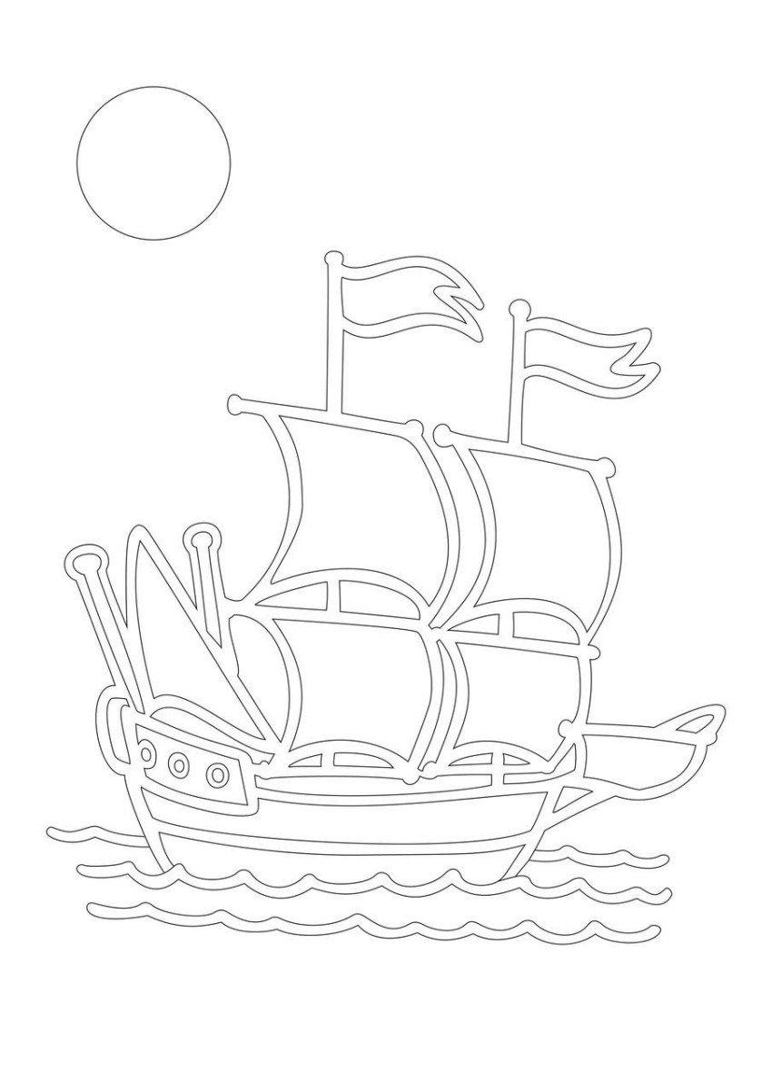 Шаблон открытка парусник, океана картинки как