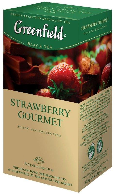 Чай GREENFIELD Strawberry Gourmet, черный с добавками, пакетированный, 25 пак/упак