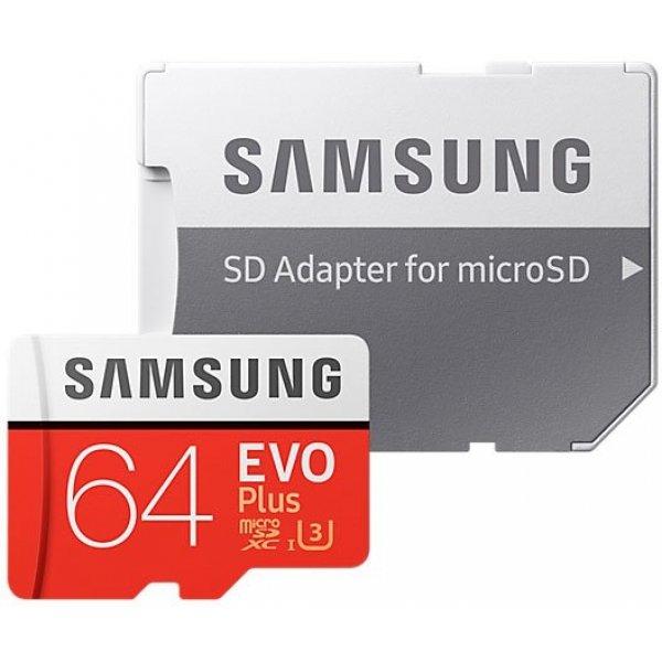 Карта памяти MicroSD 64GB Samsung Class 10 Evo Plus U1 U3 (R/W 100/60 MB/s) + SD адаптер Samsung MB-MC64GA/RU