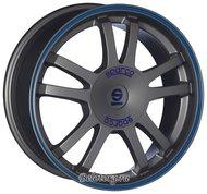 Диск Sparco Rally 7x17/4x108 D73.1 ET25 Matt Silver Tech Blu Lip - фото 1