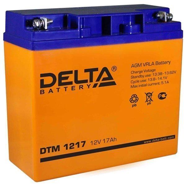 АКБ-17 Delta DTM 1217 Аккумулятор герметичный свинцово-кислотный 12В/17Ач