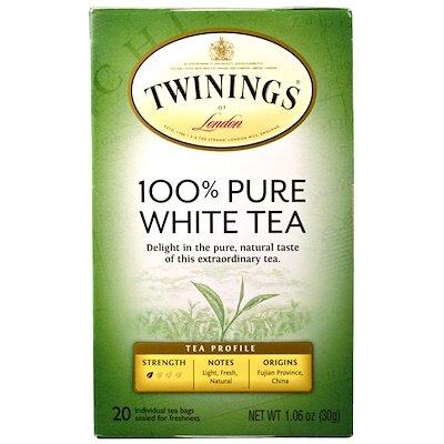 100% чистый белый чай, 20 чайных пакетиков по 1,06 унции (30 г)
