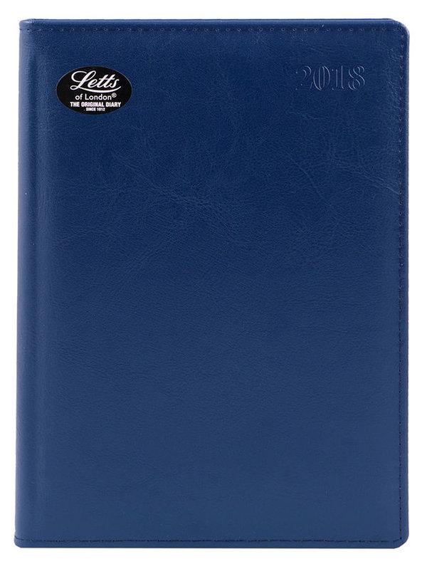 Ежедневник LETTS GLOBAL DELUXE, A5, белые страницы, кожа натуральная, синий, 1 шт [412 127220]