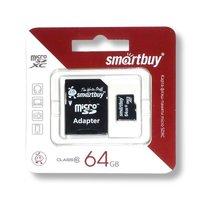 Карта памяти Smartbuy microSDXC 64Gb Class 10 + SD adapter