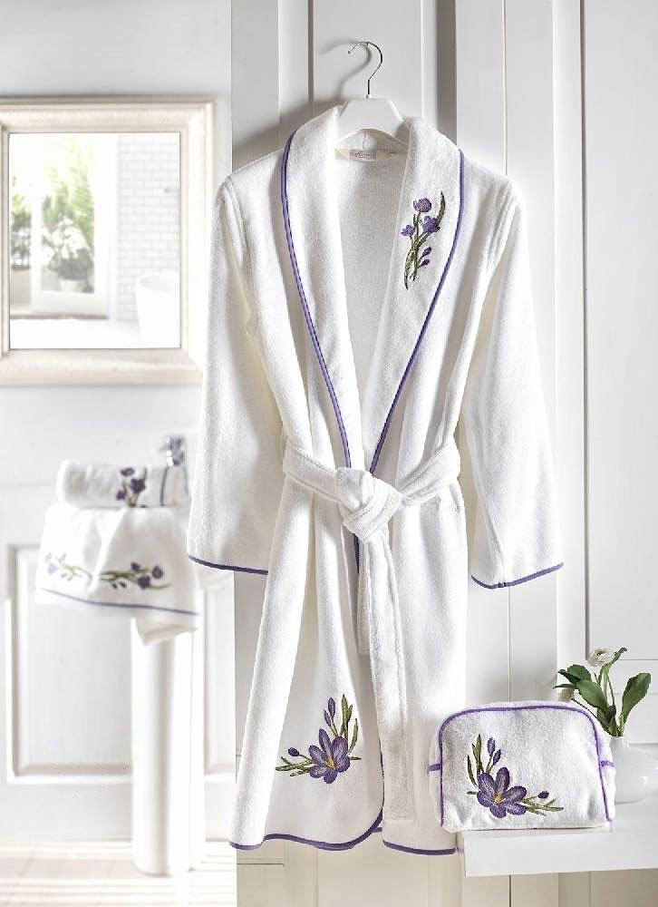 Халат махровый Blossom с вышивкой Soft (белый-лиловый), 48