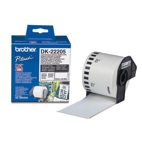 Белая бумажная клеящаяся лента BROTHER DK22205 ширина 62 мм (неразрезанная, рулон 30, 48 м)