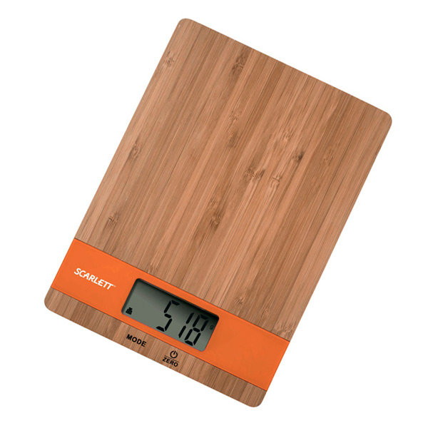Весы кухонные Scarlett SC-KS57P01 Bamboo/Orange