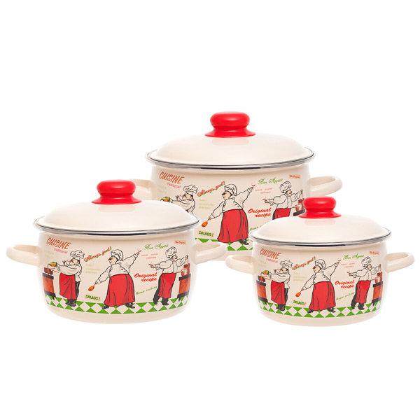 Набор посуды (эмаль) Vitross 1DA021M/C Сusiner, шесть предметов 2л,3л,4л