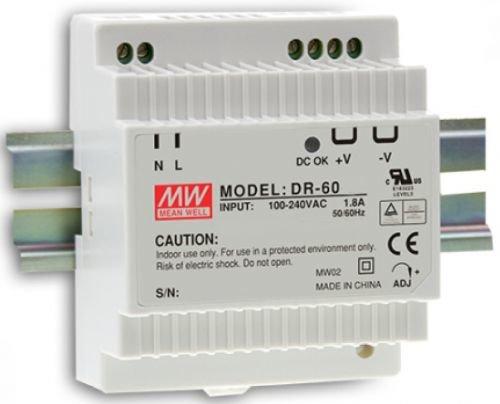 Преобразователь AC-DC сетевой Mean Well DR-60-12 источник питания 12В с универсальным входом 85-264 В AC, мощность 54Вт / 4,5А, монтаж на DIN-рейку