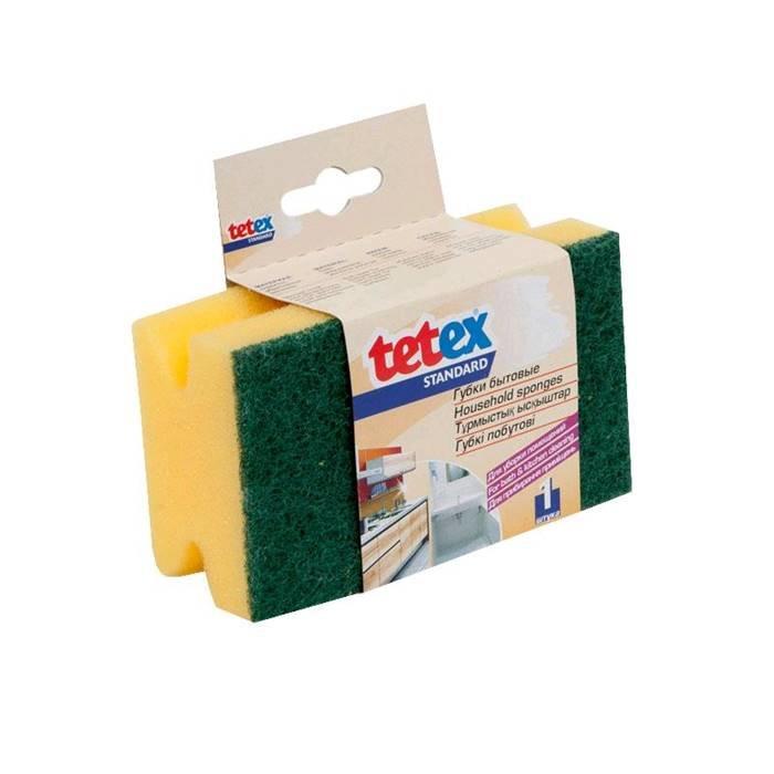 TETEX Товар для уборки 02-02-0147 Губка для уборки помещений,профиль,с абразивом,120х70x50 мм, 1 шт.