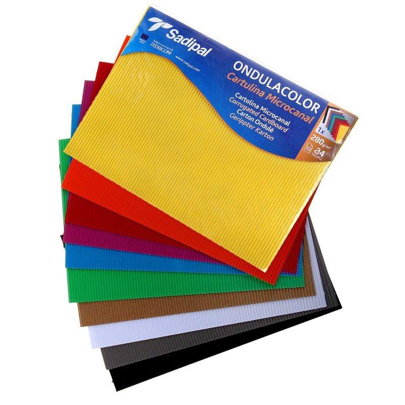 Картон гофрированный Набор картона гофрированного цветного SADIPAL OndulaColor, 328г/м2, 10 листов 21х29.7см, 10 цветов