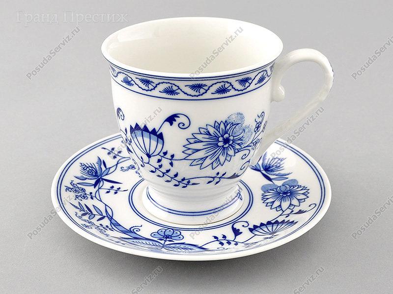 Чайное шапо Чайная пара Леандер (Leander) Чайная чашка высокая с блюдцем фарфоровая (Шапо чайное или пара) 300 мл. Гжель. Мэри-Энн