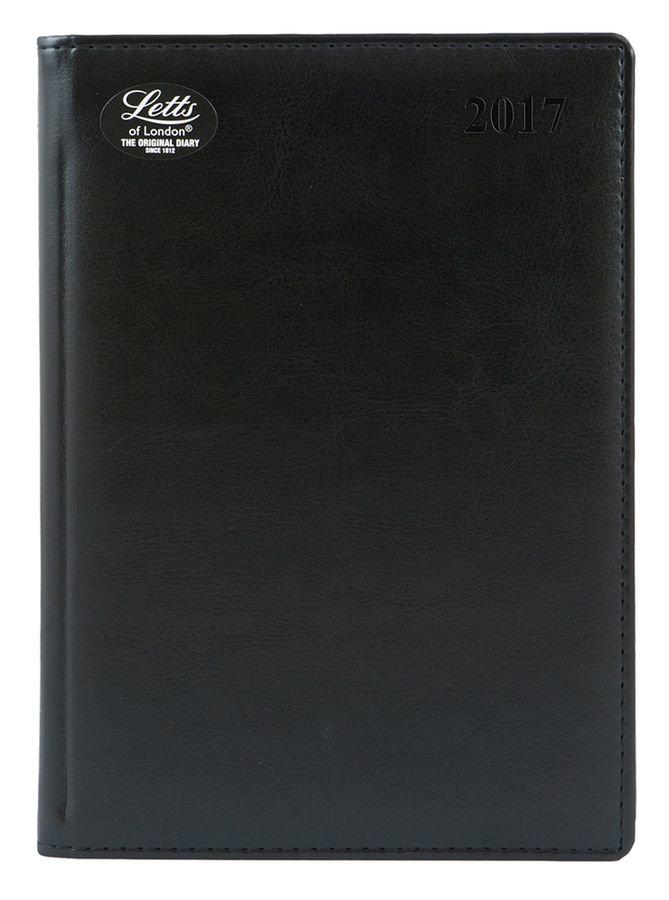 Ежедневник LETTS UMBRIA, A5, белые страницы, кожа искусственная, черный, 1 шт