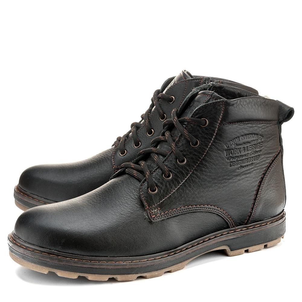 Ботинки ID! Кожаные зимние мужские ботинки на шнурках