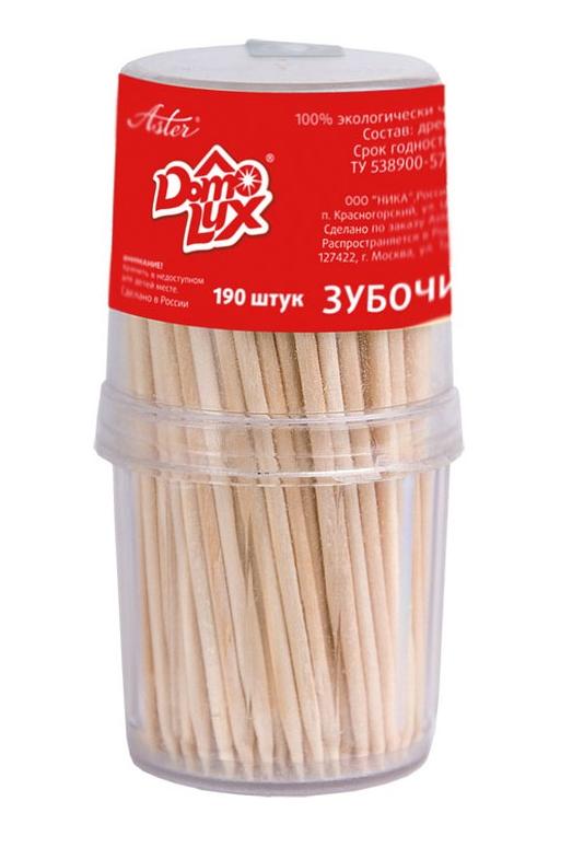 Зубочистки ASTER деревянные в пластиковой упаковке 190 шт./уп.