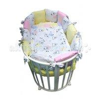 Комплект в кроватку Сонный гномик круглую Конфетти (4 предмета) Розовый