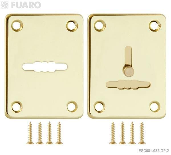 Фурнитура Fuaro (Фуаро) Декоративная накладка ESC081/082-GP-2 (ЗОЛОТО) на сув. замок сталь (1пара)