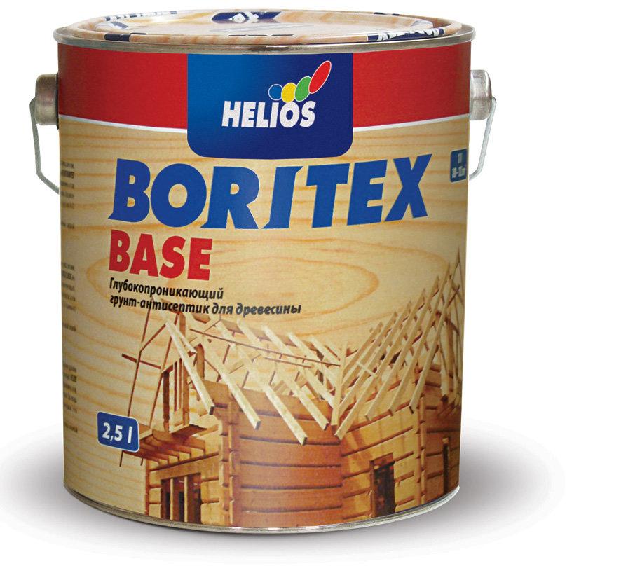 Boritex Base - грунт-антисептик для защиты древесины от грибка, плесени, 0.75 л., цвет Белый