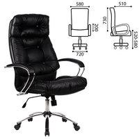 Кресло офисное метта LK-14CH, кожа, хром, черное, 87226 Метта