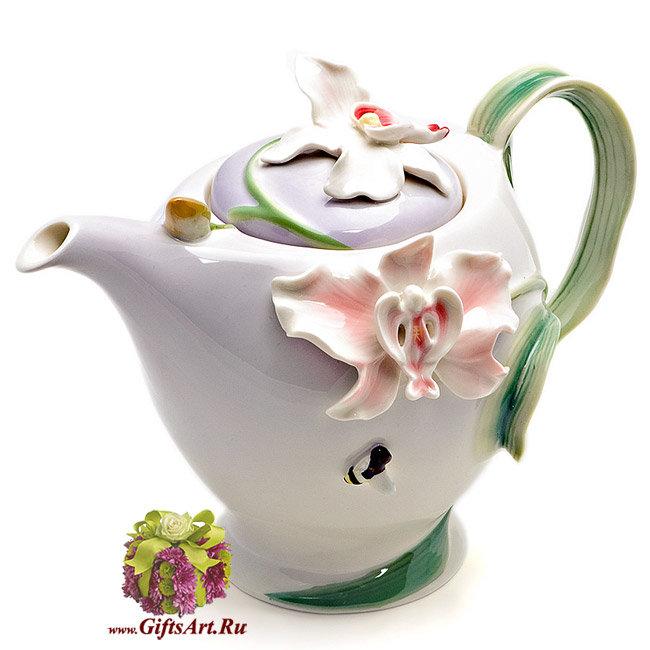 Заварочный чайник фарфоровый Орхидея. 990 мл. Подарочная упаковка.