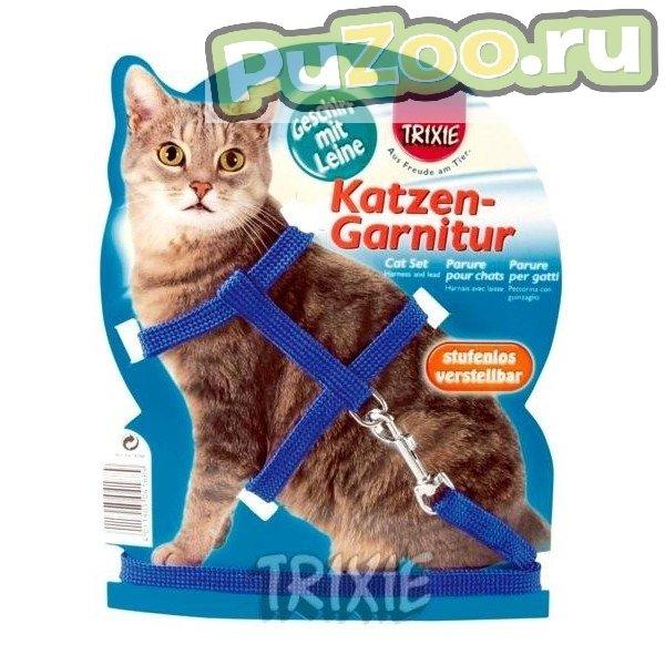 TRIXIE Шлейка для кошек однотонная с поводком, нейлон 35см 10мм