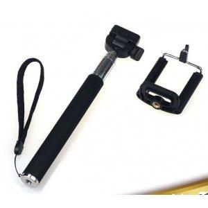Бесповодная Bluetooth селфи-палка/монопод для сэлфи с удобной прорезиненной ручкой черного цвета подходит для всех телефонов