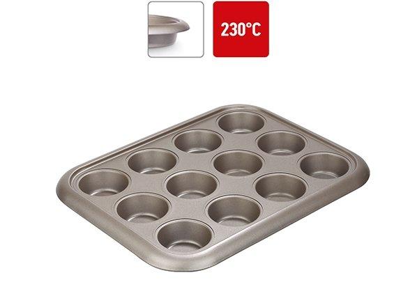 Форма для выпечки 12 маффинов NADOBA RADA, стальная, антипригарная, 38х29,5х3,5 см