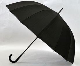 Зонт-трость мужской Ame Yoke (Аме Йоке) L-70 (черный, 16 спиц, спица 70см, полуавтомат)