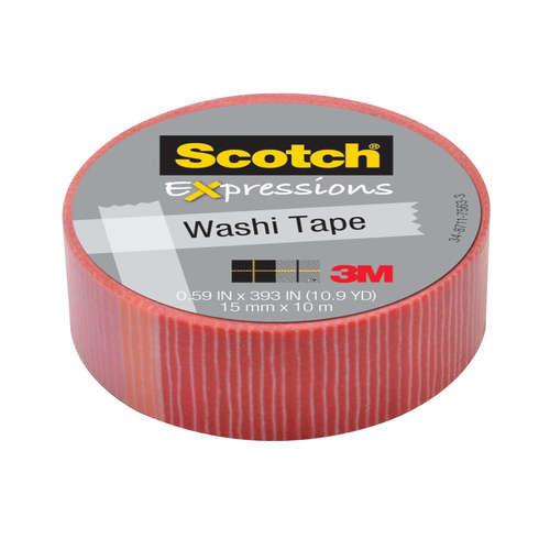 Лента клейкая декоративная SCOTCH Washi, полоски, 15мм x 10м, (3M) C314-P22