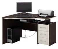 Компьютерный стол МФ Мастер Триан-5 Темное-cветлое дерево, Левый