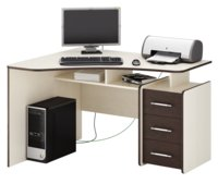 Компьютерный стол МФ Мастер Триан-5 Темное-cветлое дерево, Правый