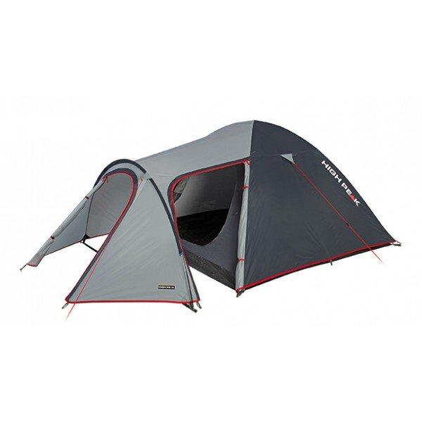 Палатка HIGH PEAK Kira 4 (цвет: светло-серый/тёмно-серый/красный)