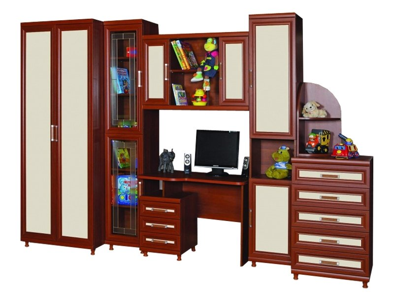 Комплект мебели в детскую для подростка фабрики Стиль Дана (без витражной двери)