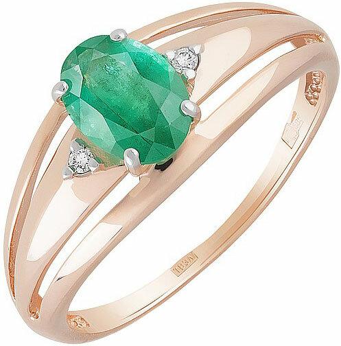 Золотое кольцо Магия Золота KL-756K-322-1-13-00 с изумрудом, бриллиантами, размер 18 мм