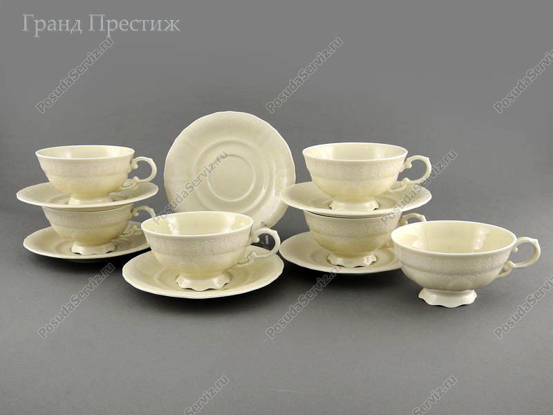 Набор чайных пар Набор чайных чашек с блюдцем Леандер (Leander) Набор чайных чашек с блюдцем фарфоровых (Шапо чайное или пара) 200 мл. Слоновая кость белые узоры. Соната