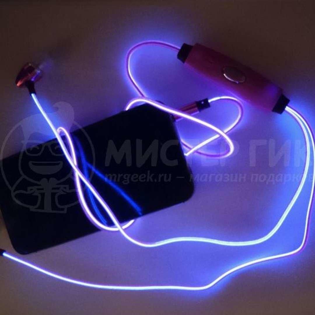 Светящиеся наушники Glowing Earphone (Розовый, пуля)