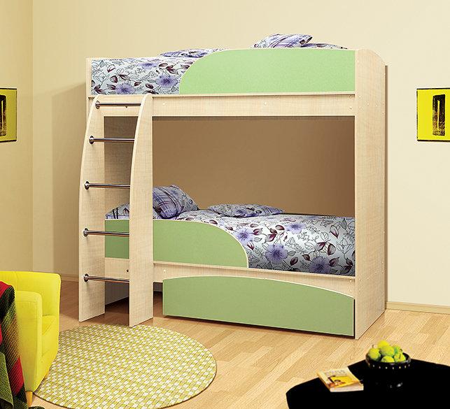 Детская двухъярусная кровать Омега 4 Млечный дуб/Фисташковый