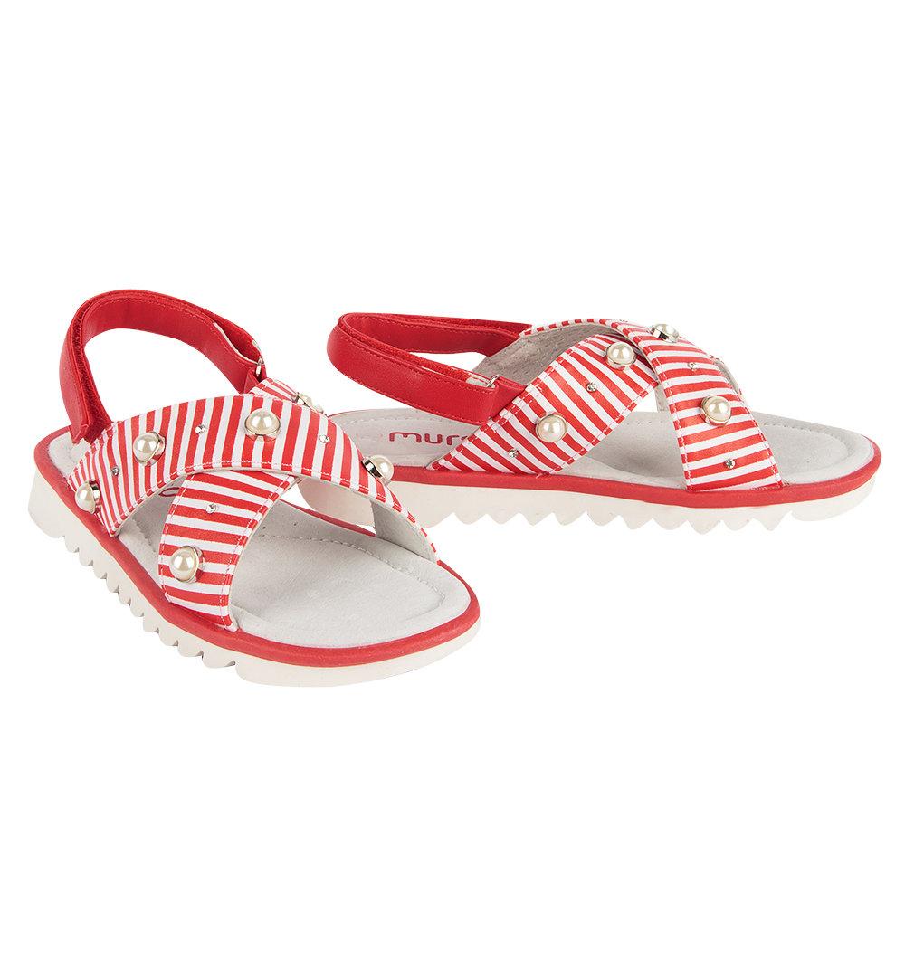 Босоножки Mursu цвет: красный/белый, для девочек, размер 37