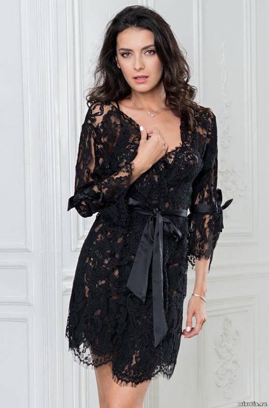 Роскошный черный халат с кружевом