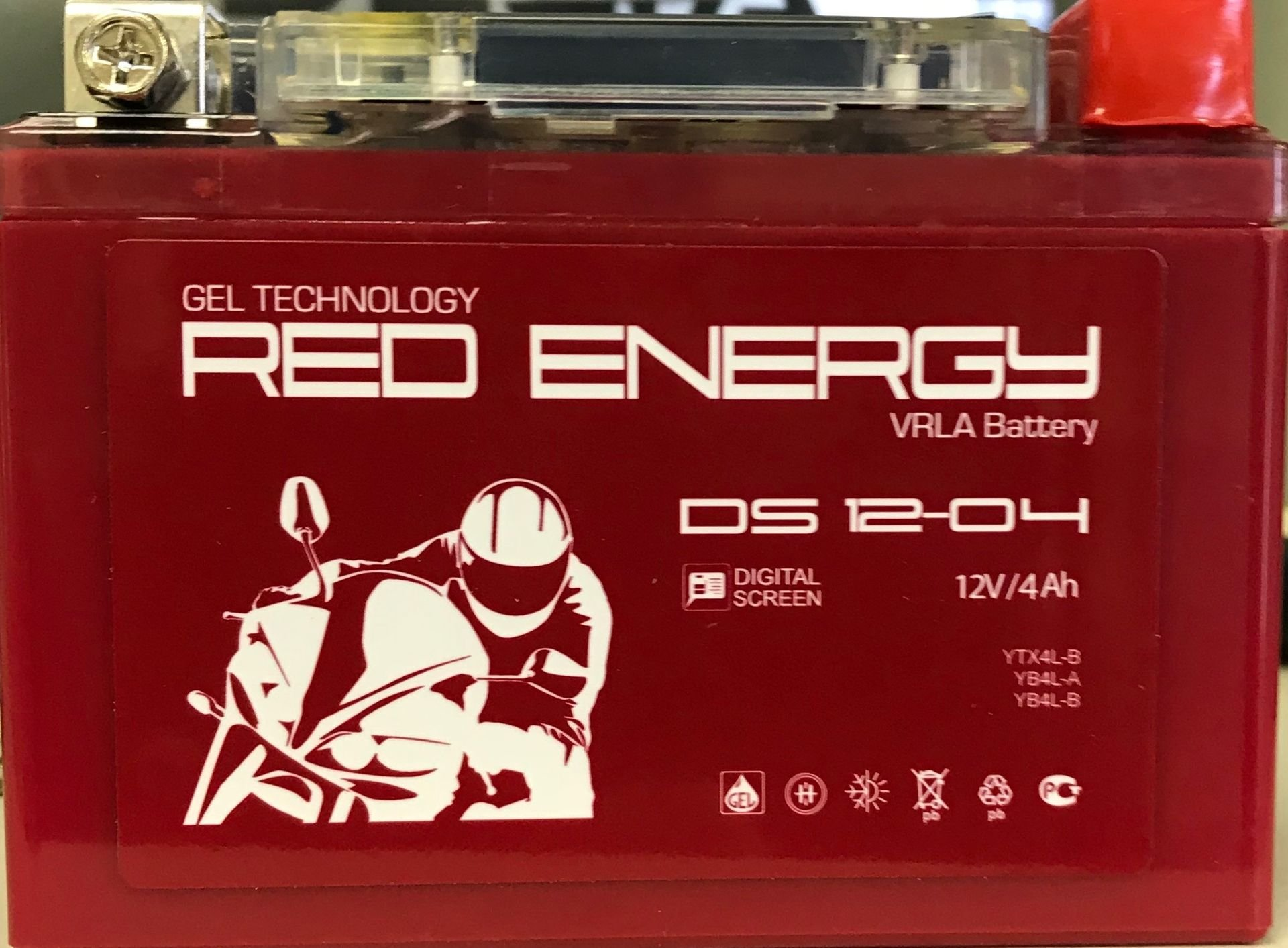Аккумулятор мотоциклетный Гелевый Red Energy RE 1204 DS YB4L-B, YB4L-A, YTX4L-BS 12V 4Ah Gel