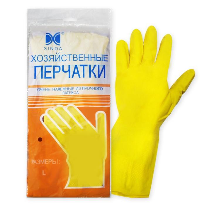 Перчатки хозяйственные латексные (L)