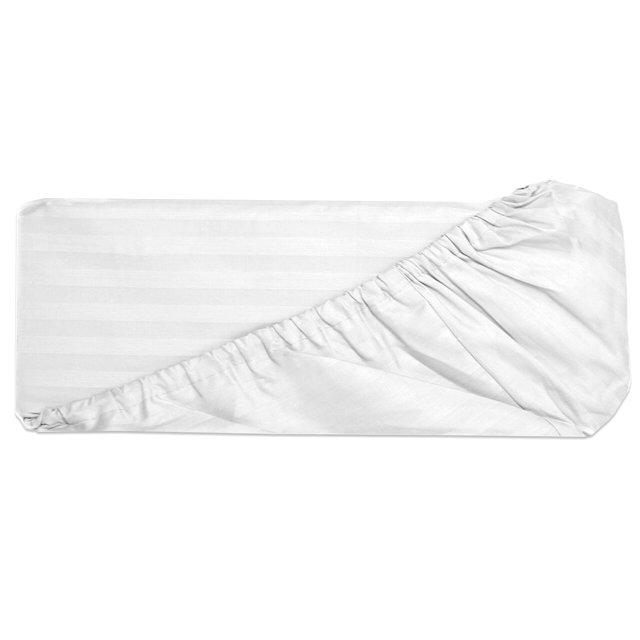 простыня на резинке славянский текстиль 200х220см сатин-страйп белая, арт.1710145/01