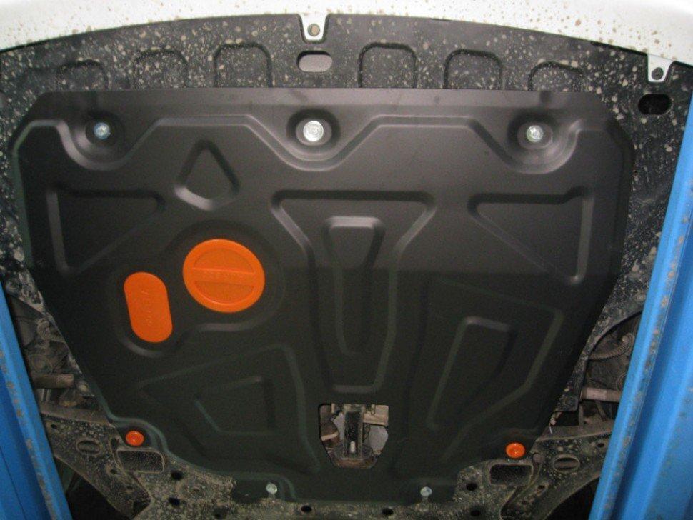 ALFeco Защита картера и коробки передач Kia Rio IV (Киа Рио) 2017 - 2018 (на пыльник с уст. на силовой кронштейн) объем двигателя: все двигатели (стальная 2 мм, тип защиты: двигателя, коробки передач, днища, картера) с крепежом