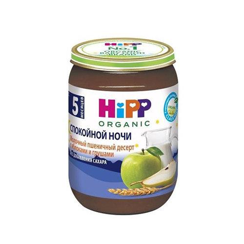 """Пюре """"Молочный пшеничный десерт с яблоками и грушами"""", для детей с 5 месяцев - Hipp"""
