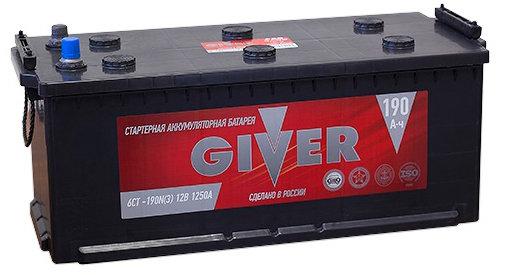 Аккумулятор грузовой Giver 6СТ-190 прям. 190Ач пр.