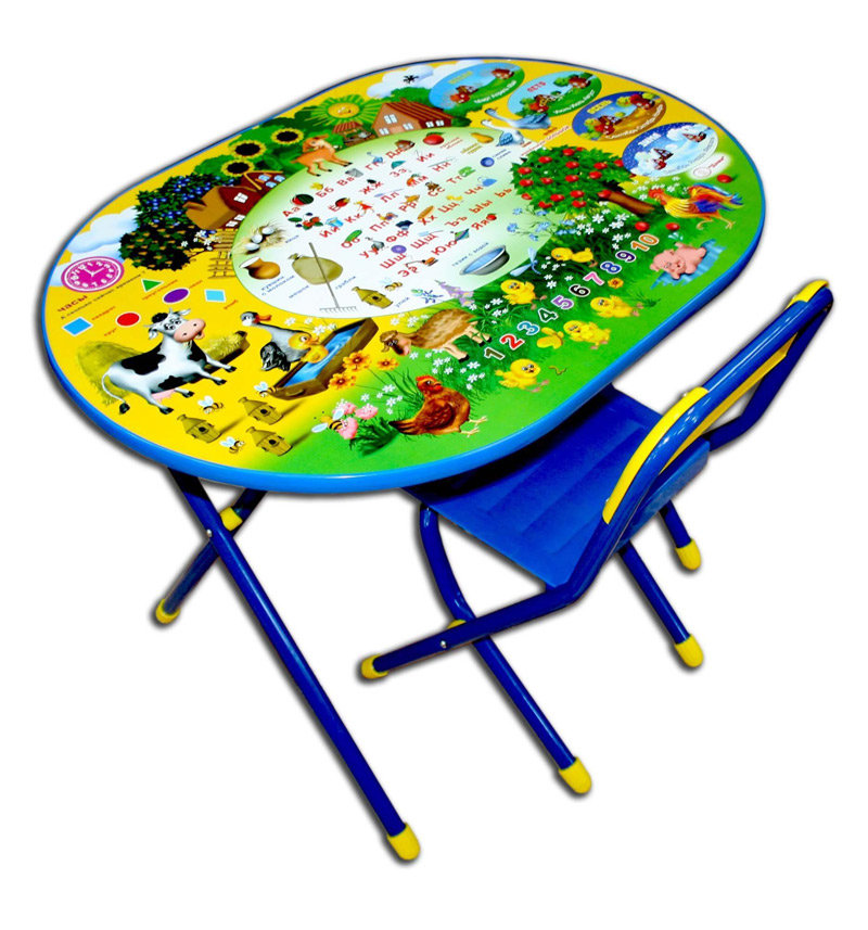 Набор детской мебели Дэми Веселая ферма, цвет: синий/желтый