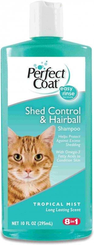 Шампунь для кошек 8IN1 Perfect Coat Shed Control & Hairballl против линьки и колтунов с тропическим ароматом 295 мл